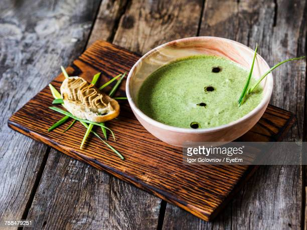 Vichyssoise With Chicken Pate Served On Cutting Board