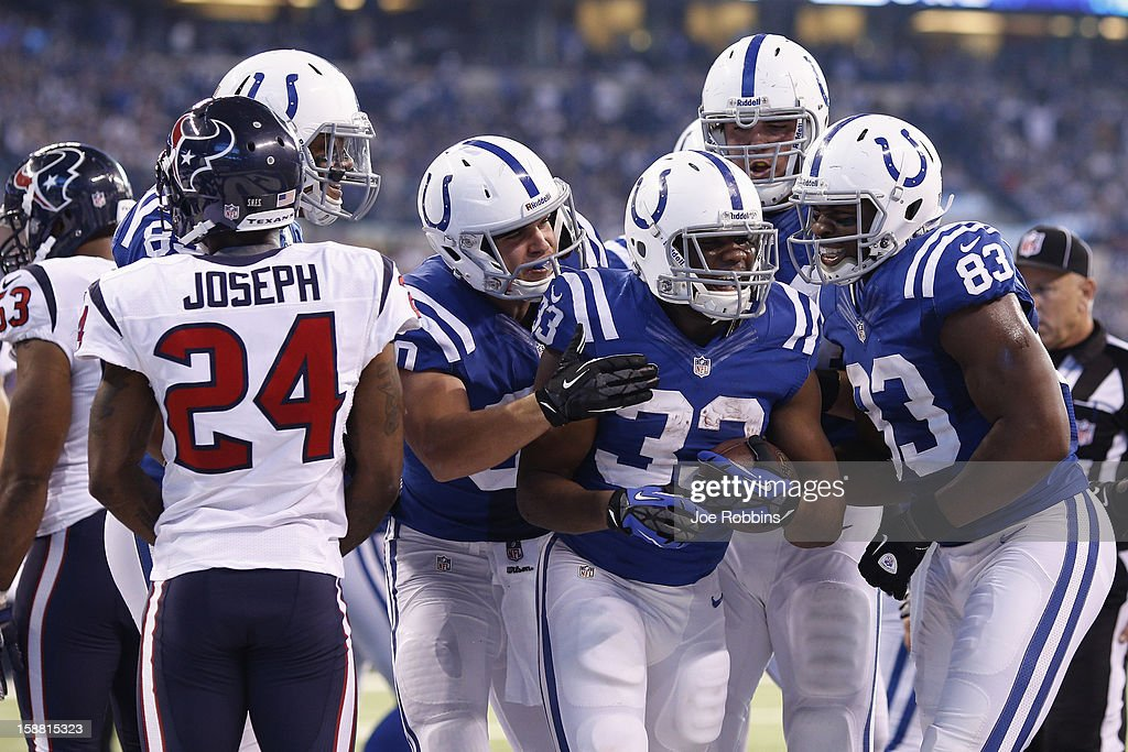 Vick Ballard #33 of the Indianapolis Colts celebrates after rushing for a one-yard touchdown against the Houston Texans during the game at Lucas Oil Stadium on December 30, 2012 in Indianapolis, Indiana.