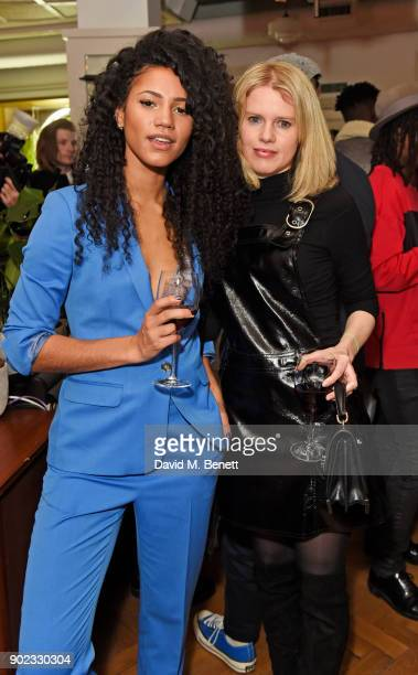 Vick Hope and Emily Sherwood attend the Topman LFWM party at Mortimer House on January 7 2018 in London England