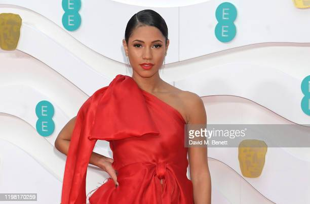 Vick Hope arrives at the EE British Academy Film Awards 2020 at Royal Albert Hall on February 2, 2020 in London, England.