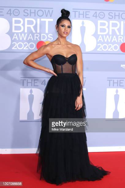 Vick Hope attends The BRIT Awards 2020 at The O2 Arena on February 18 2020 in London England