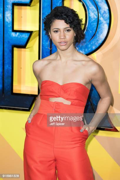 Vick Hope attends the European Premiere of 'Black Panther' at Eventim Apollo on February 8 2018 in London England
