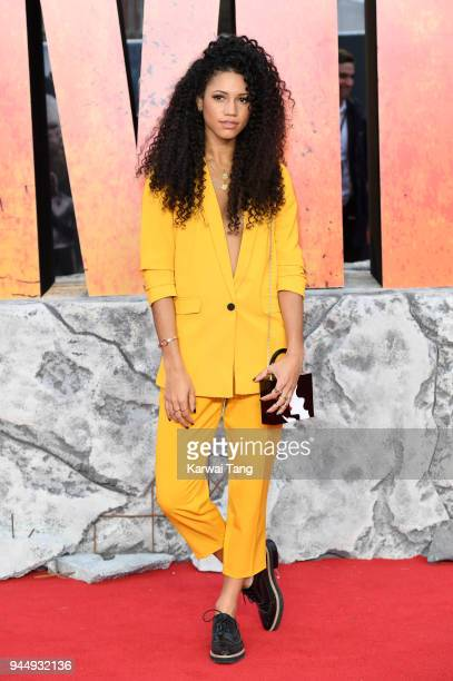 Vick Hope attends the European Premiere of 'Rampage' at Cineworld Leicester Square on April 11 2018 in London England