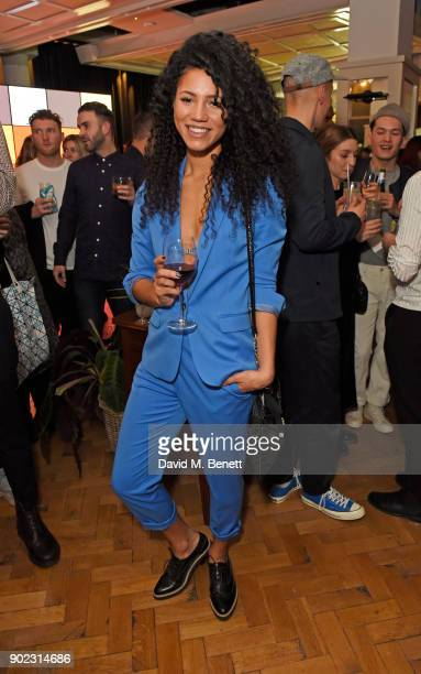 Vick Hope attends the Topman LFWM party at Mortimer House on January 7 2018 in London England