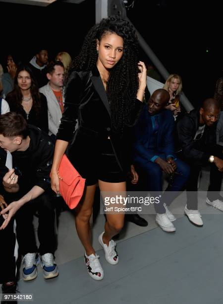 Vick Hope attends the What We Wear show during London Fashion Week Men's June 2018 at the BFC Show Space on June 11 2018 in London England
