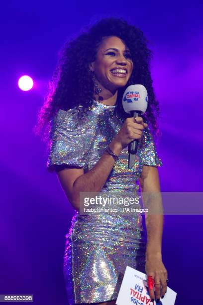Vick Hope on stage during day one of Capital's Jingle Bell Ball with CocaCola at London's O2 Arena