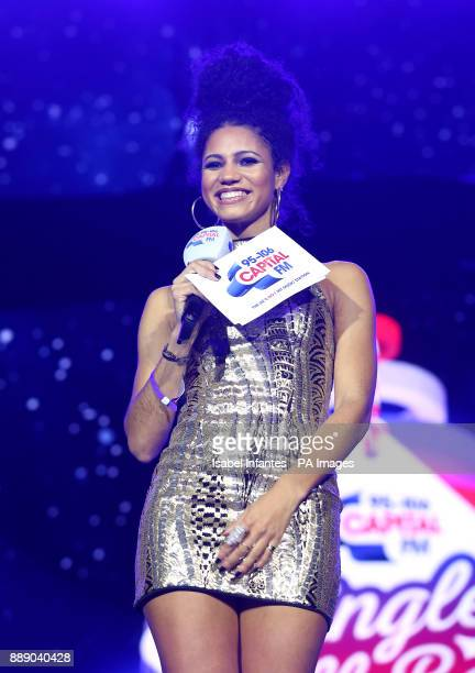Vick Hope on stage during day one of Capital's Jingle Bell Ball with CocaCola at London's O2 Arena PRESS ASSOCIATION Photo Picture date Saturday...