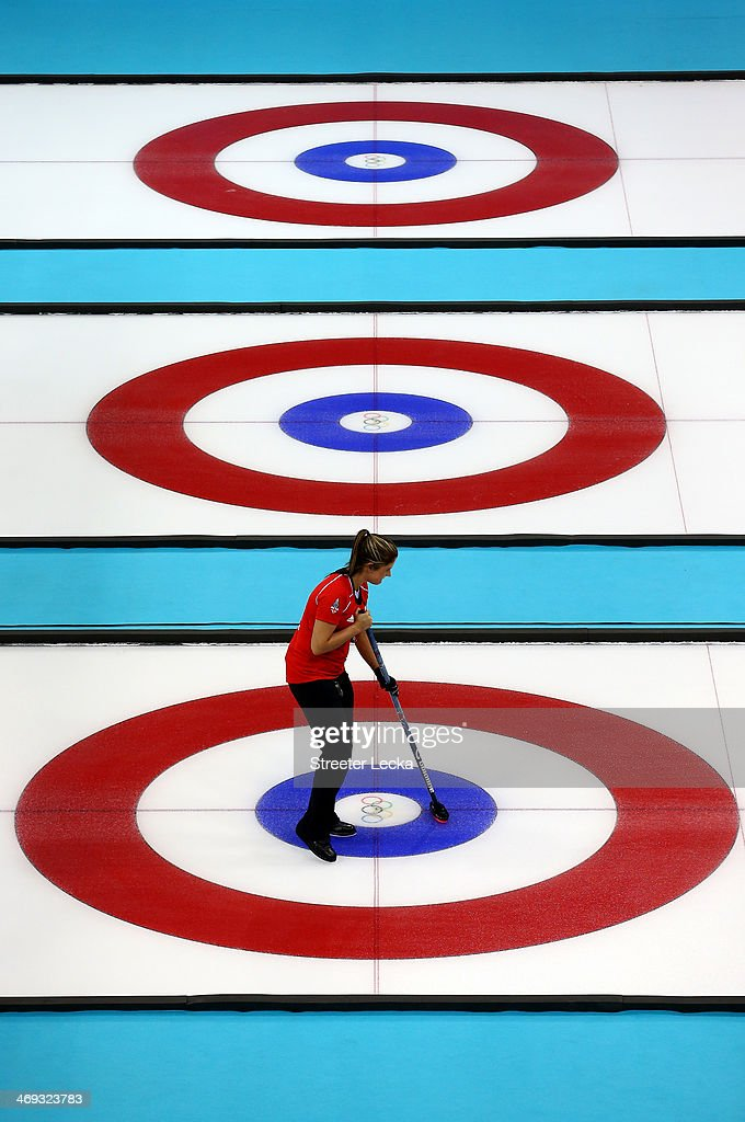 Vicki Adams of Great Britain competes against Japan during the Women's Curling Round Robin match on day seven of the Sochi 2014 Winter Olympics at Ice Cube Curling Center on February 14, 2014 in Sochi, Russia.