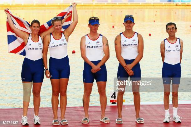 Vicki Hansdord Naomi Riches Alastair Mckean James Morgan and Alan Sherman of Great Britain win the Bronze in the Rowing Mixed Coxed Four LTA Final at...