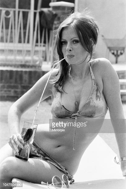 Vicki Michelle British actress relaxes in her garden with a cold drink Epping Essex Friday 25th August 1972
