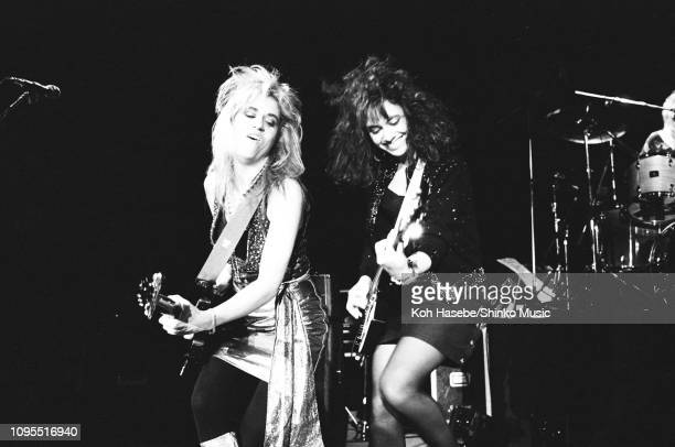 Vicki Peterson and Susanna Hoffs of The Bangles perform on stage at Harajuku Tokyo Japan June 1986