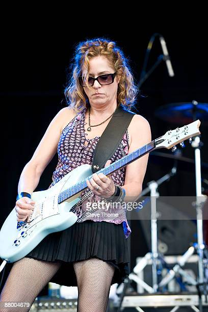 Vicki Peterson of The Bangles performing live at the Cornbury Music Festival Oxfordshire UK on July 05 2008
