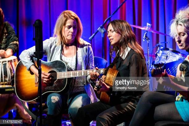 Vicki Peterson Susanna Hoffs and Annette Zalinskis of The Bangles perform during The Drop 3x4 at The GRAMMY Museum on May 06 2019 in Los Angeles...
