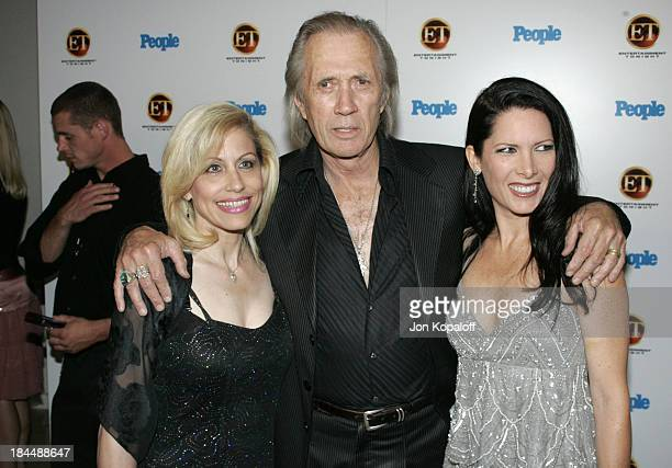 Vicki Roberts David Carradine and Annie Bierman during Entertainment Tonight Emmy Party Sponsored by People Magazine Arrivals at The Mondrian in West...
