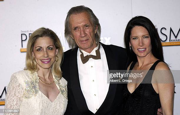 Vicki Roberts David Carradine and Annie Bierman during The 7th Annual PRISM Awards Arrivals at Henry Fonda Music Box Theater in Hollywood California...