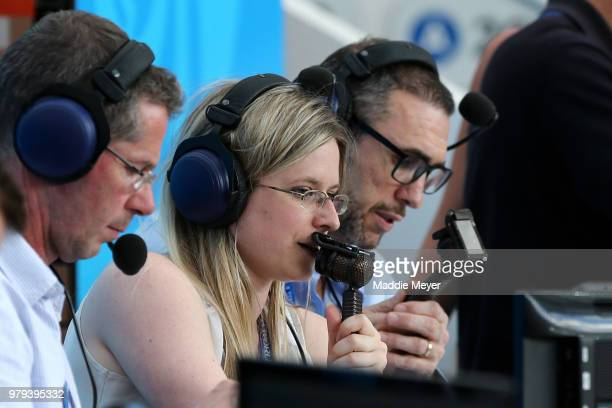 Vicki Sparks commentates for BBC during the 2018 FIFA World Cup Russia group B match between Portugal and Morocco at Luzhniki Stadium on June 20 2018...