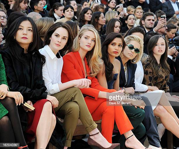 Vicki Zhao Michelle Dockery Rosie HuntingtonWhiteley Freida Pinto Rita Ora Kate Beckinsale and Lily Mo Sheen sit in the front row for the Burberry...
