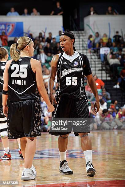 Vickie Johnson and Becky Hammon of the San Antonio Silver Stars discusses against the Detroit Shock during Game Three of the WNBA Finals on October 5...