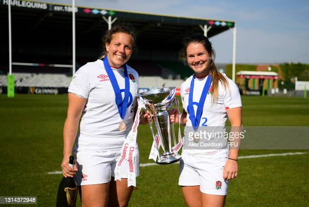 Vickii Cornborough and Leanne Riley of England pose for a photo with the trophy after victory in the Women's Six Nations match between England and...