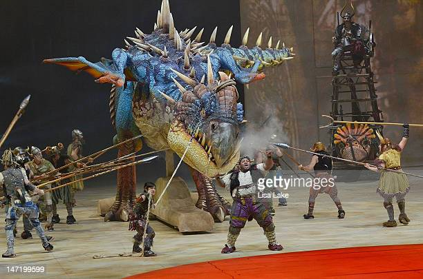 """Vickings attack dragon """"Nadder"""" Scene from DreamWorks' """"How To Train Your Dragon Live Spectacular"""" North American tour at Mohegan Sun at Pocono Downs..."""