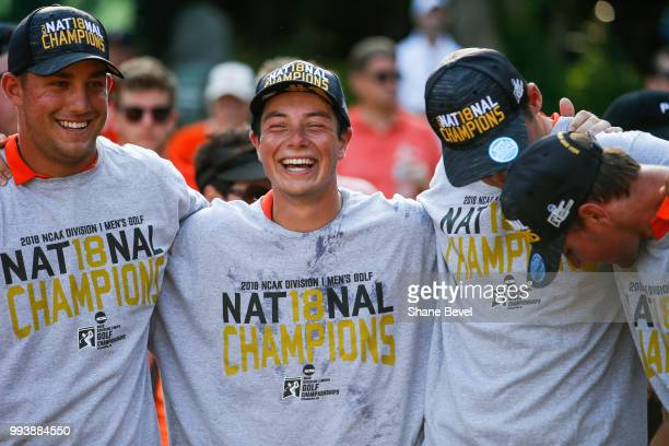 Vicktor Hovland of Oklahoma State center celebrates with teammates during the trophy presentation after winning the Division I Men's Golf Team Match...