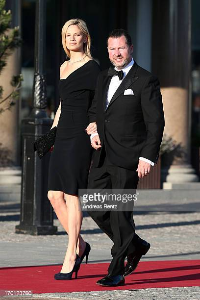 Vicky Andren and Gustaf Magnuson arrive at a private dinner on the eve of the wedding of Princess Madeleine and Christopher O'Neill hosted by King...