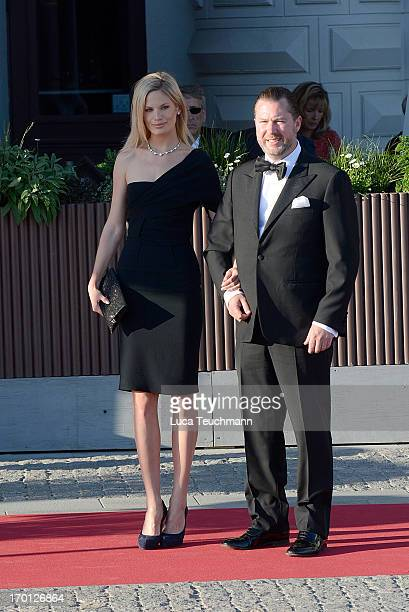 Vicky Andren and Gustaf Magnuson attend a private dinner on the eve of the wedding of Princess Madeleine and Christopher O'Neill hosted by King Carl...
