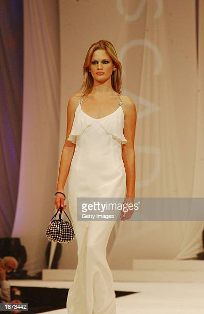 Vicky Andren models at the Trilogy Fashion Show in support of the Chernobyl Children Project December 4 2002 at the RDS in Dublin Ireland