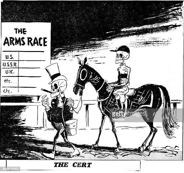 Vicky Cartoon 25th March 1957 'The Cert' Skeleton wearing top hat smoking cigar leads in a horse ridden by a skeleton jockey past a sogn which reads...