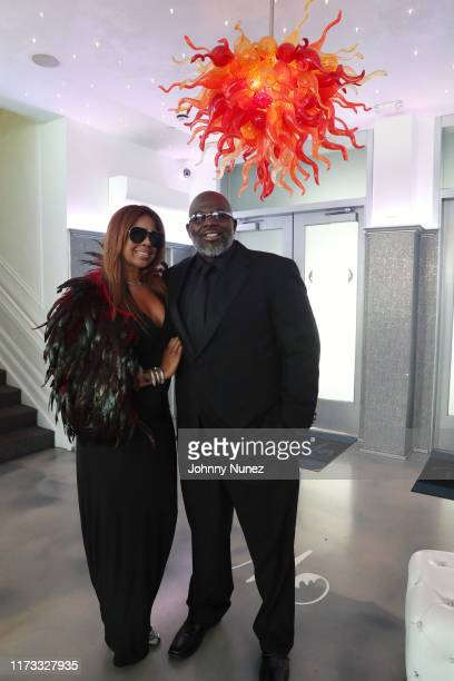 Vicky Chambers Williams and Michael Blue Williams attend the Treach Cicely Evans Wedding at Waterside Reception Hall on September 08 2019 in North...