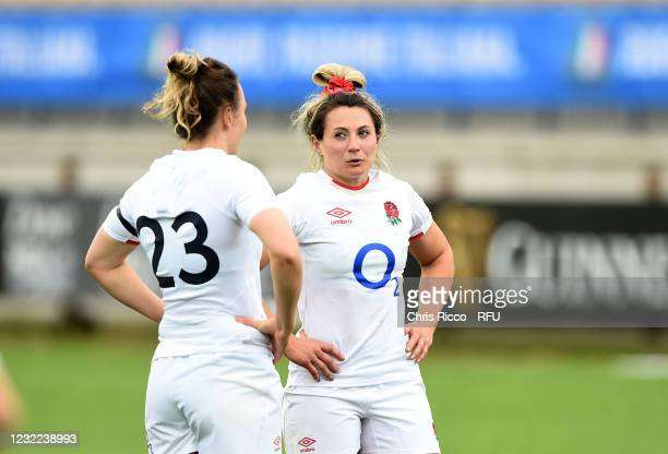 Vicky Fleetwood of England and Sarah McKenna of England during the Women's Six Nations match between Italy and England at Stadio Sergio Lanfranchi on...