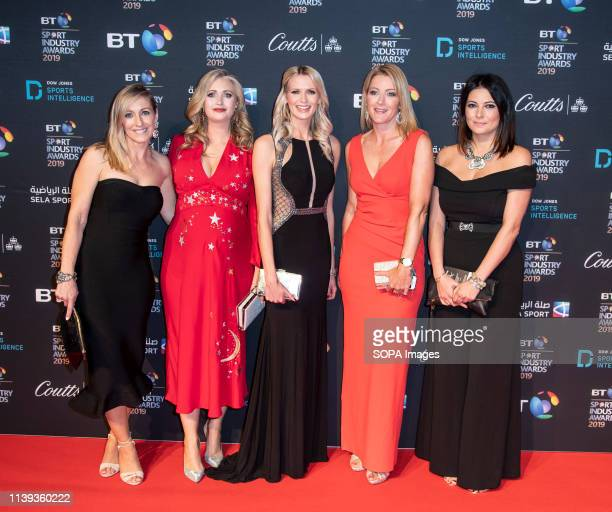 Vicky Gomersall Hayley McQueen Jo Wilson Rachel Brooks and Natalie Sawyer appear on the red carpet ahead of the BT Sport Industry Awards 2019 at...