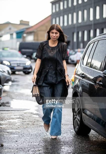 Vicky Heiler is seen outside Baum und Pferdgarten during Copenhagen Fashion Week Spring/Summer 2020 on August 08, 2019 in Copenhagen, Denmark.