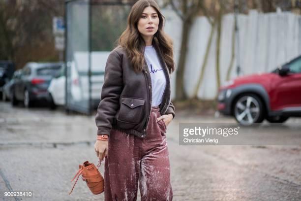 Vicky Heiler wearing brown jacket velvet pants is seen outside Marina Hoermanseder during the Berlin Fashion Week January 2018 on January 18 2018 in...