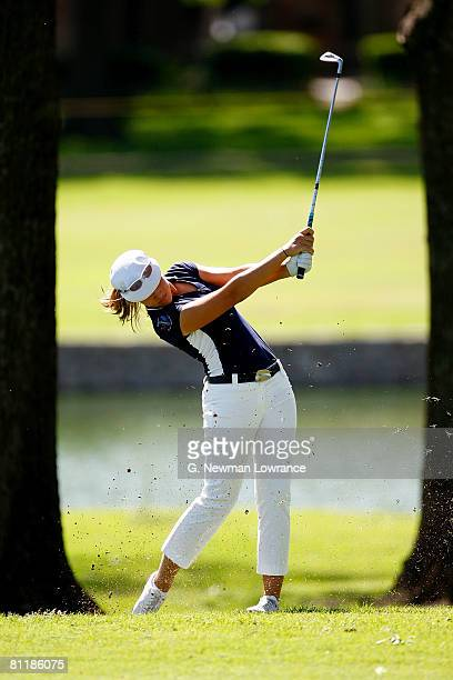 Vicky Hurst hits a shot during the second round of the SemGroup Championship presented by John Q Hammons on May 2 2008 at Cedar Ridge Country Club in...