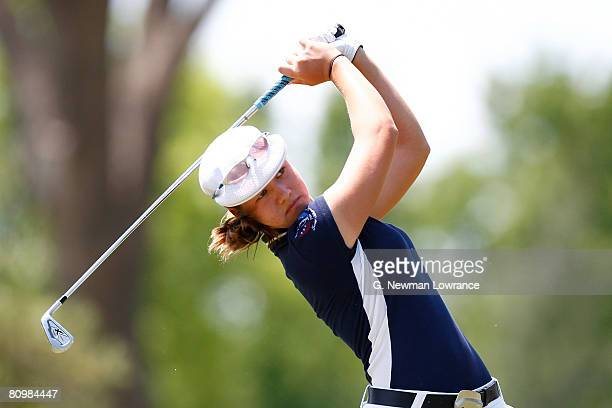 Vicky Hurst hits a tee shot on the second hole during the final round of the SemGroup Championship presented by John Q Hammons at Cedar Ridge Country...