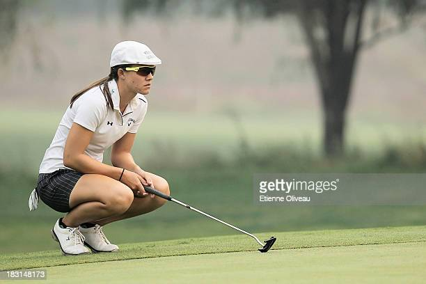 Vicky Hurst of United States lines up a putt during the third round of the Reignwood LPGA Classic at Pine Valley Golf Club on October 5 2013 in...