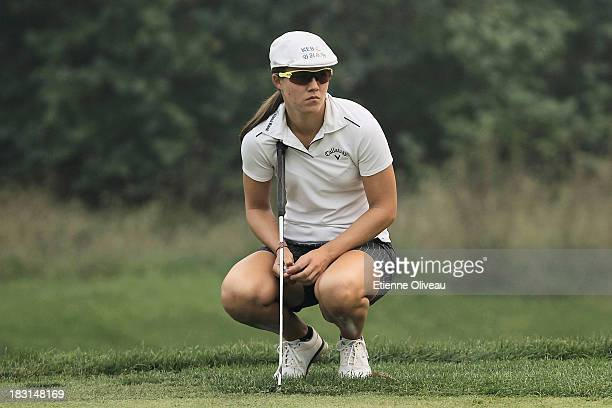 Vicky Hurst of United States looks on during the third round of the Reignwood LPGA Classic at Pine Valley Golf Club on October 5 2013 in Beijing China