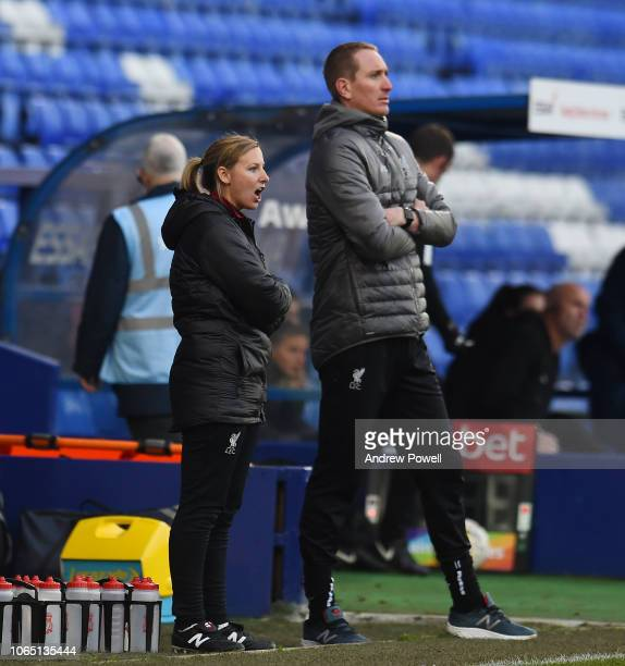 Vicky Jepson manager of Liverpool Women during the Womens Super League match between Liverpool Women and Birmingham City Women at Prenton Park on...