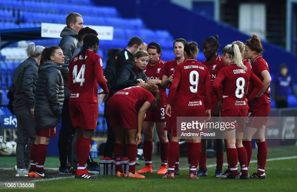 Vicky Jepson manager of Liverpool Women talking to her players during the Womens Super League match between Liverpool Women and Birmingham City Women...