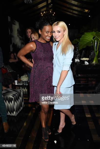 Vicky Jeudy and Peyton List attend the MercedesBenz Lounge during MercedesBenz Fashion Week Spring 2015 at Lincoln Center on September 7 2014 in New...
