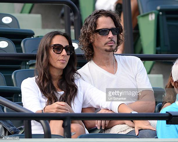 Vicky Karayiannis and Chris Cornell are seen at Sony Open Tennis at Crandon Park Tennis Center on March 20 2014 in Key Biscayne Florida