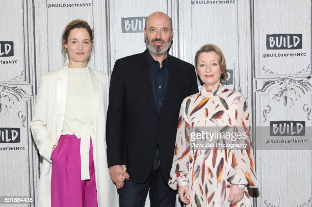 Vicky Krieps Mark Bridges and Lesley Manville attend Build Series to discuss 'Phantom Thread' at Build Studio on December 13 2017 in New York City