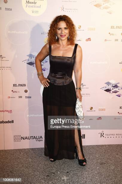 Vicky Larraz attends the Steven Tyler concert photocall at Royal Theatre during Universal Music Festival on July 30 2018 in Madrid Spain