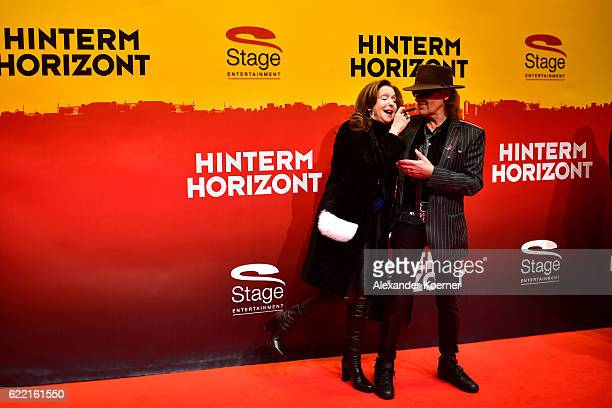 Vicky Leandros and Udo Lindenberg attend the red carpet at the Hinterm Horizont Musical premiere at Stage Operretenhaus on November 10 2016 in...