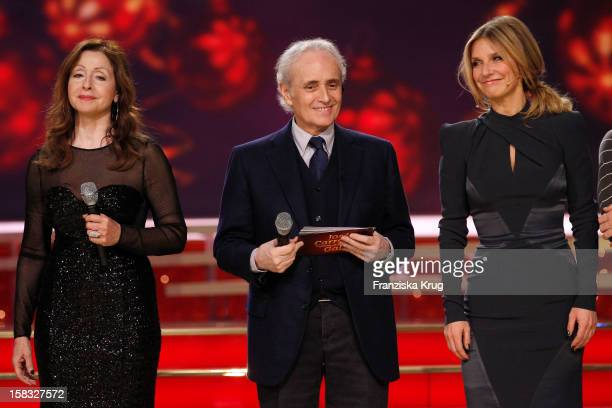 Vicky Leandros Jose Carreras and Kim Fisher perform during the 18th Annual Jose Carreras Gala Rehearsals on December 13 2012 in Leipzig Germany