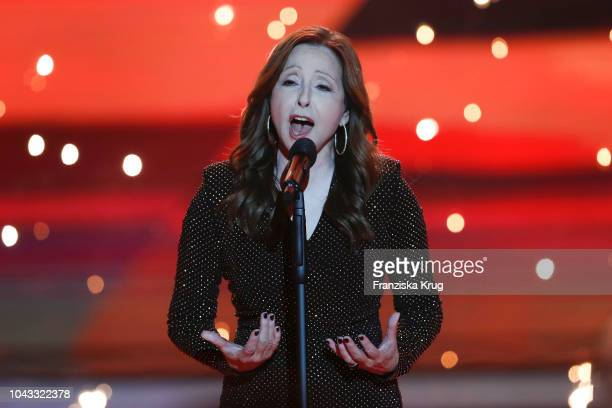 Vicky Leandros performs during the television show 'Willkommen bei Carmen Nebel' at Velodrom on September 29 2018 in Berlin Germany