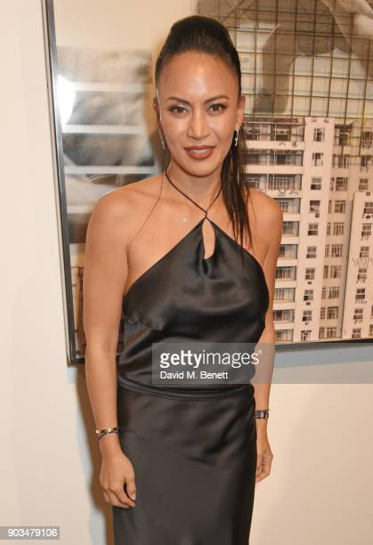 """Vicky Lee attends the private view of """"JR: Giants - Body of Work"""" at Lazinc on January 10, 2018 in London, England."""