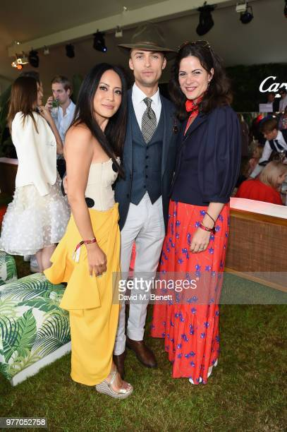 Vicky Lee Harvey NewtonHaydon and a guest attend the Cartier Queen's Cup Polo at Guards Polo Club on June 17 2018 in Egham England