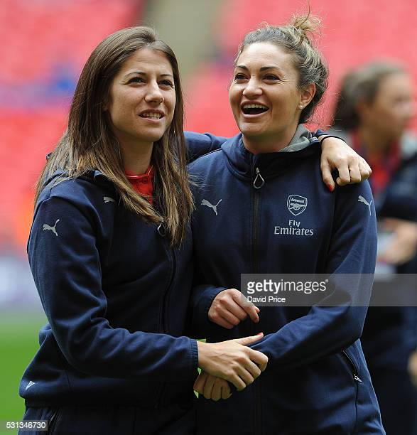 Vicky Losada and Jodie Taylor of Arsenal Ladies before the SSE Women's FA Cup Final between Arsenal Ladies and Chelsea Ladies at Wembley Stadium on...
